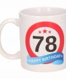 Cadeau 78 jaar mok beker verkeersbord thema