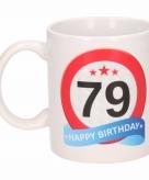 Cadeau 79 jaar mok beker verkeersbord thema