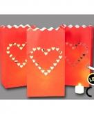 Candle bags love rood 3 stuks led
