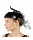 Charleston hoed zwart met pailletten