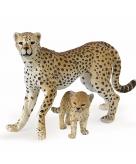 Cheeta met welp speeldiertje 10 cm