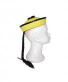 Chinese hoedjes geel met vlecht