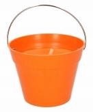 Citronella kaars in emmer 14 cm oranje