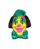 Clown muurdecoratie 60 cm geel