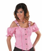 Cowboy geruite blouse off shoulders dames roze
