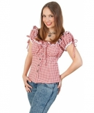 Cowgirl blouse rood wit voor dames