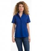 Dames overhemden blauw korte mouw