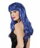 Dames pruik lang blauw