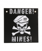 Danger mines muurdecoratie 30x30
