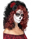 Day of the dead pruik met roos