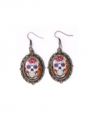 Day of the dead skull oorbellen goud type 1