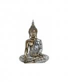 Decoratie boeddha beeld brons zilver 33 cm