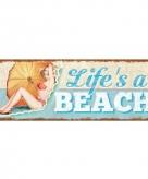 Decoratie bordje van hout beach