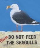 Decoratie bordje van hout seagull