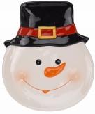 Decoratie kerstbord sneeuwpop 24 cm