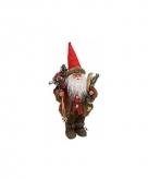 Decoratie kerstman pop met ski 47 cm