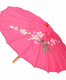 Decoratie parasol china fuchsia 80 cm