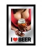Decoratie spiegel sexy dame met bier