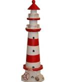 Decoratie vuurtorens rood wit 41 cm