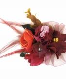 Decoratiebloemen met clip bordeaux