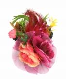 Decoratiebloemen met clip fuchsia roze