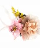 Decoratiebloemen met clip roze geel