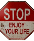 Decoratiebord stop enjoy your life