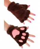 Dierenpootjes handschoenen van pluche donkerbruin