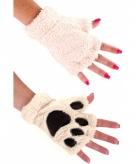 Dierenpootjes handschoenen van pluche ecru