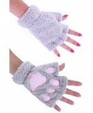 Dierenpootjes handschoenen van pluche grijs