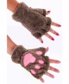 Dierenpootjes handschoenen van pluche lichtbruin