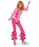 Disco outfit roze met zilver
