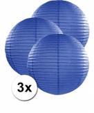 Donker blauwe lampionnen 50 cm 3 stuks