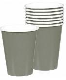 Donker zilveren drinkbekers 8 stuks