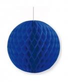 Donkerblauwe papieren kerstbal 10 cm