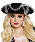 Driesteek hoed zwart met zilver
