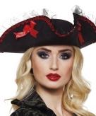 Driesteek piraten hoed zwart met rood