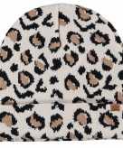 Dubbel laagse gebreide muts voor kinderen met luipaard print beige
