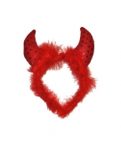 Duivel haarband met veren en pailletten