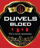 Duivels bloed flessen etiket