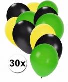 Fan ballonnen geel zwart groen 30 stuks