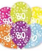 Feest ballonnen kleuren 80 jaar verjaardag 6 stuks