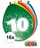 Feest ballonnen met 10 jaar print 16x sticker
