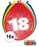 Feest ballonnen met 18 jaar print 16x sticker