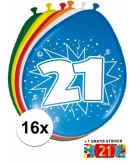 Feest ballonnen met 21 jaar print 16x sticker