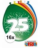 Feest ballonnen met 25 jaar print 16x sticker