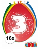 Feest ballonnen met 3 jaar print 16x sticker