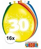 Feest ballonnen met 30 jaar print 16x sticker