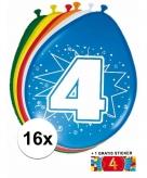 Feest ballonnen met 4 jaar print 16x sticker