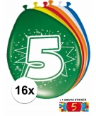 Feest ballonnen met 5 jaar print 16x sticker